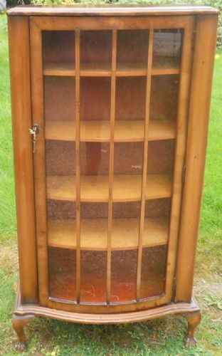 Small Walnut Glazed Bookcase